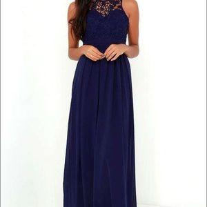Womens Xs navy blue maxi dress