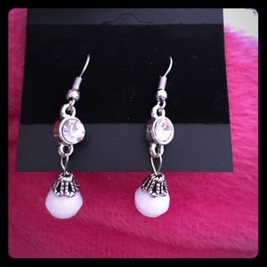  White Rhinestone and faceted bead earrings