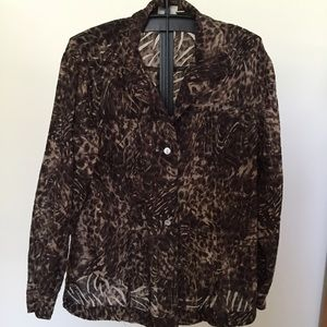 Chico's Sz 3 ( 14-16) see through jacket/top