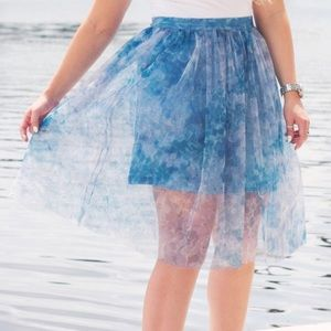 French Connection Blue Florida  Tulle Skirt