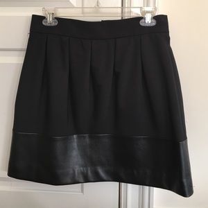 Zara black pleated skirt with leather detail