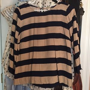 Navy and tan striped shirt