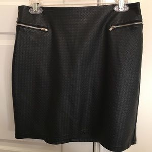 H&M woven leather skirt with exposed zippers