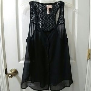 Sheer and lace racerback top or vest