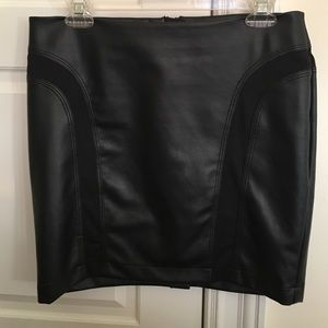 Bar III black leather skirt with knit details
