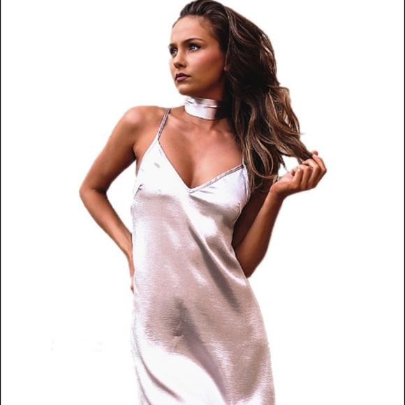 0ad60e75c391 Siren Theory Dresses | Silver Satin Slip Dress With Ribbon Choker ...
