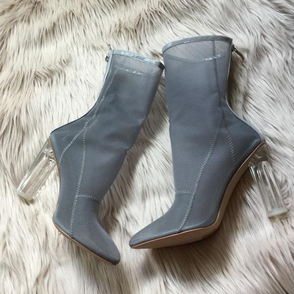 Grey Mesh with Perspex Heel Boots