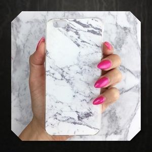 🆕White Marbled IPhone Rubber Phone Case 6/6s