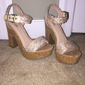 Chunk, cork heeled shoe