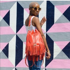 Dolce Vita Coral fringe leather bag