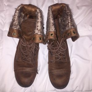 Brown combat boots, only worn a few times.