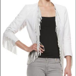 RARE! Rebecca Minkoff White fringe leather jacket