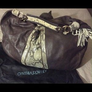 Cynthia Rowley brown leather bag with tasle.