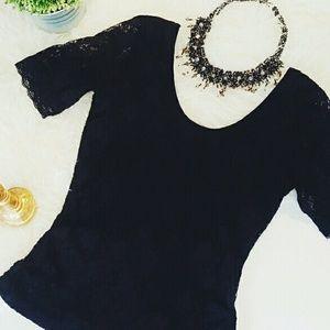 BONGO Tops - BONGO black lace shirt