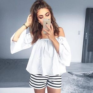 White Off The Shoulder Bell Sleeve Top