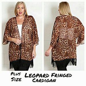 Plus Size Fringed Leopard Print Cardigan