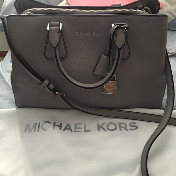4b6c77874b9a Michael Kors  Camille Large Leather Satchel (Grey).  M 57d8a07a4127d0083601284a