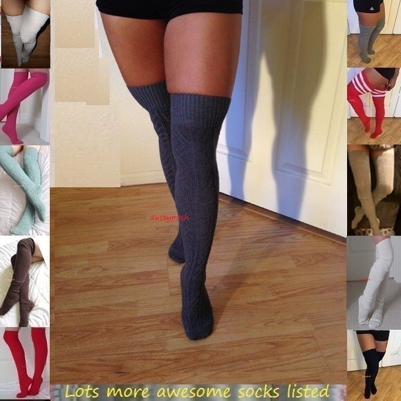 fdf1c8a3c Over The Knee Thigh High Socks Grey White Taupe