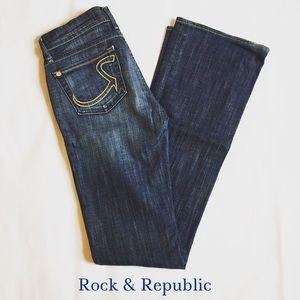 Rock & Republic Boot Cut Medium Denim Jeans Sz 26