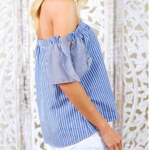 Off The Shoulder Striped Bow Sleeve Top