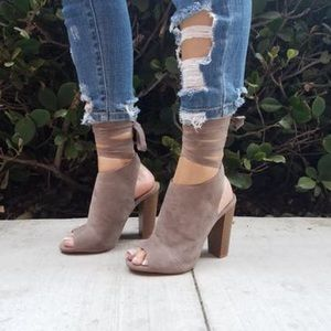‼️Clearance ‼️Taupe open toe mule lace up heels