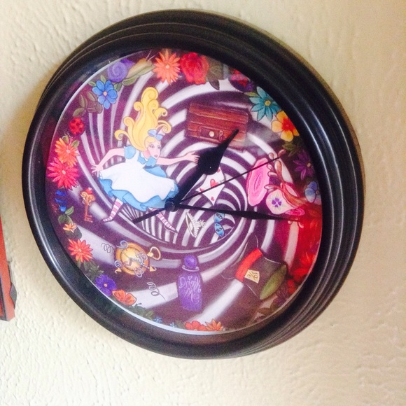 Handmade Trippy Alice In Wonderland Clock