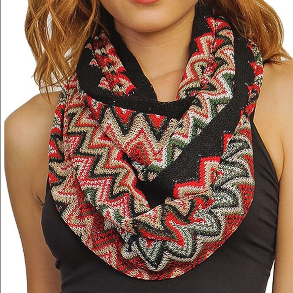 Accessories - Colorful Chevron Knit Infinity Scarf