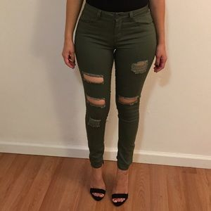 Olive Distressed Skinnies