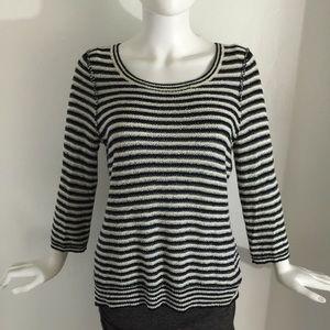 Anthropologie HRW zip back striped sweater