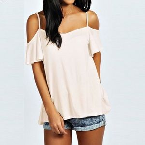 Tops - Soft and Sexy Off Shoulder Strappy T-White or Sand