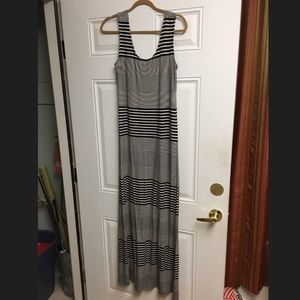 Merona black and white striped maxi dress