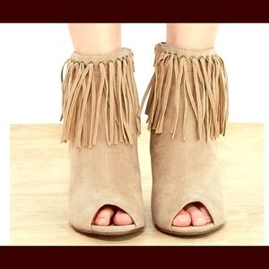 No Name Shoes - Suede Tan peep toe fringed ankle booties