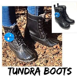 Tundra Shoes - Tundra Black Leather Waterproof Duck Boots- New