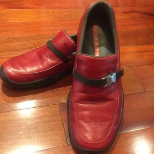 Red Prada loafers