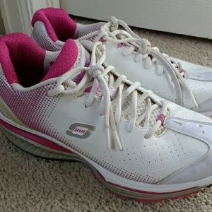 White and Pink Sketchers Shape-Ups