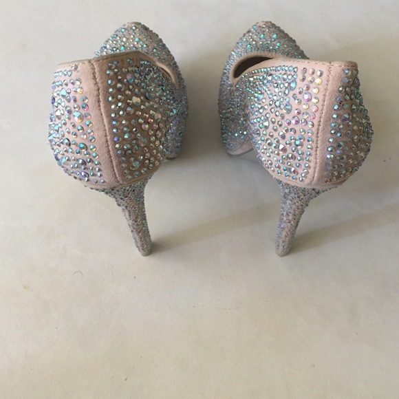 Mascotte Shoes - Mascotte Nude Rhinestone Crystal High Heels