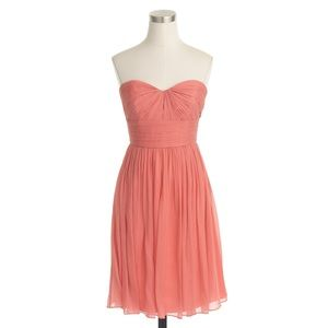 J. Crew strapless dress in silk chiffon, coral