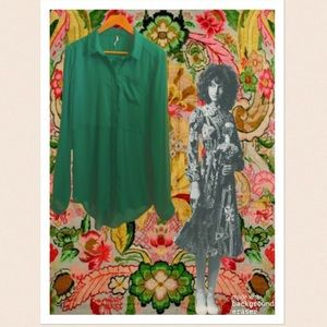Free People Emerald Green Long Tunic Button Down