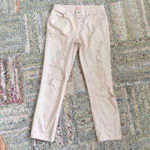 refuge Denim - Refuge distressed skinny crop jeans