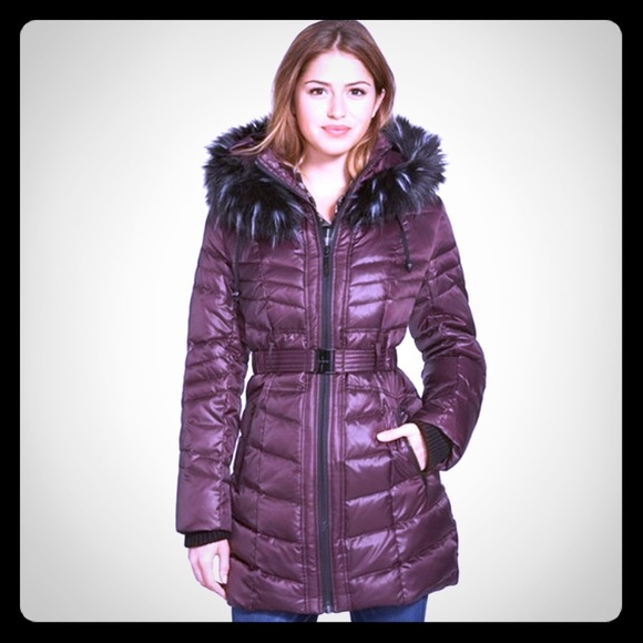 92f0e0134 Kensie Belted Down Coat with Faux Fur Hood M