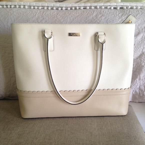 73% off kate spade Handbags - Kate Spade White Tan Scallop Melina ...