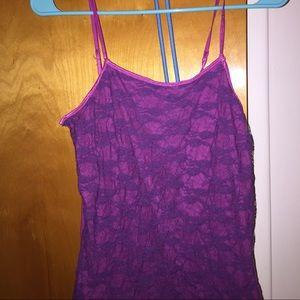 Rue 21 Lace Purple Pink Shirt Size Large Cute!
