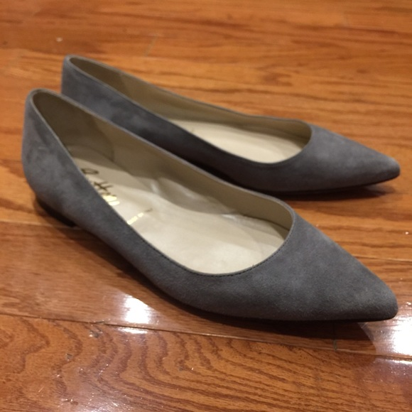 Gray Suede Pointed Toe Flats By Butter