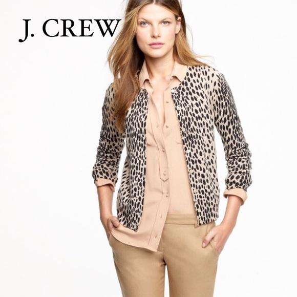 dc7974132773 J. Crew Sweaters | J Crew Merino Wool Leopard Print Cardigan | Poshmark