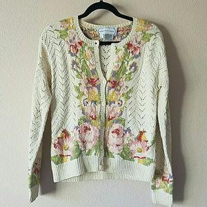 Adrienne Vittadini vintage floral cardigan