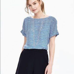 Short sleeve blue stripe top