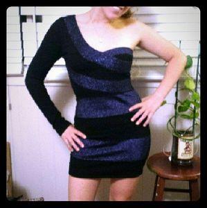 Black & Blue, One Shoulder, Bandage Mini Dress
