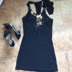 Josh brody Dresses & Skirts - Racer back studded little black dress LBD