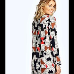 c8fe555559b7 Boohoo Dresses | Gracie Geo Print Long Sleeve Shift Dress | Poshmark