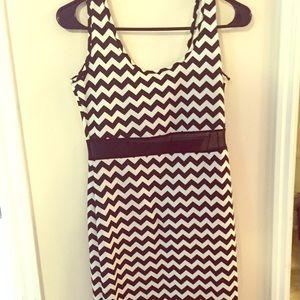 Black and white chevron midi dress